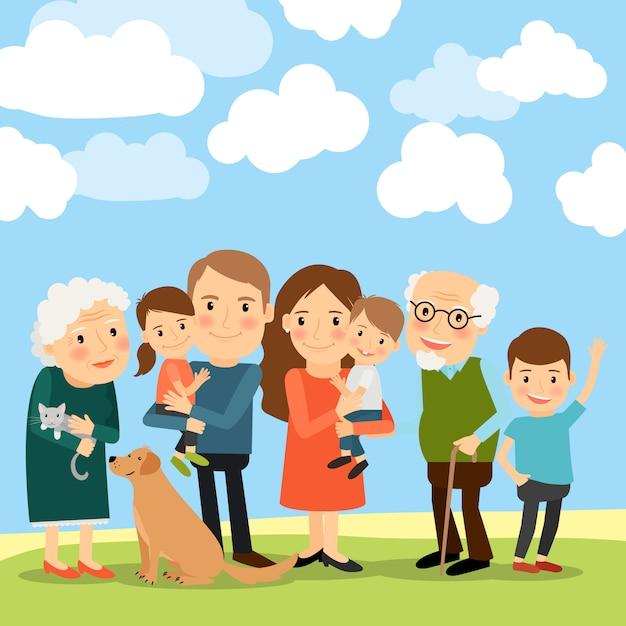大家族と雲と空 Premiumベクター