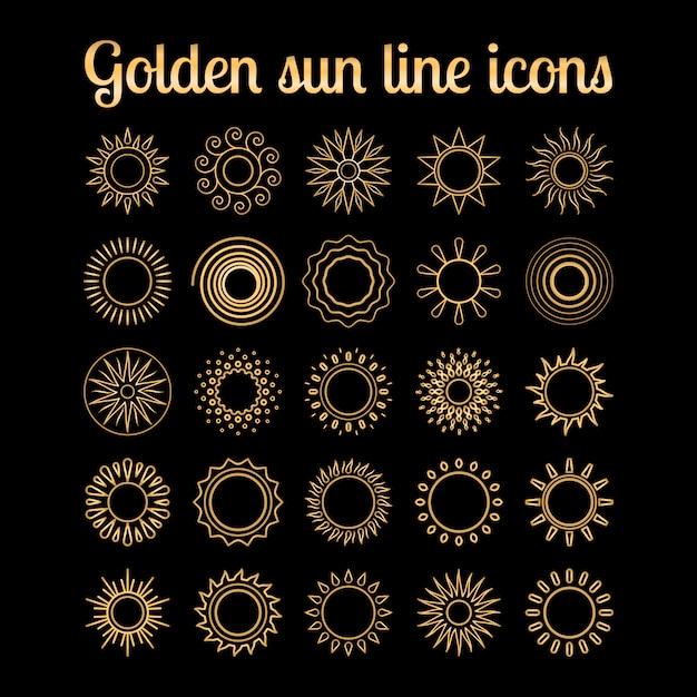 金色の太陽の細い線のアイコンセット Premiumベクター