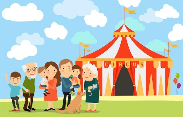 Большая семья возле цирка Premium векторы