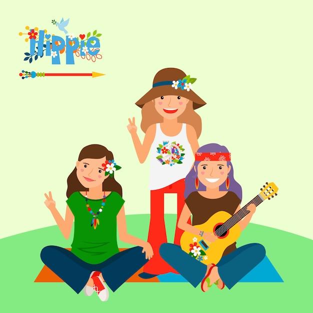 Три хиппи девушки и гитара Premium векторы