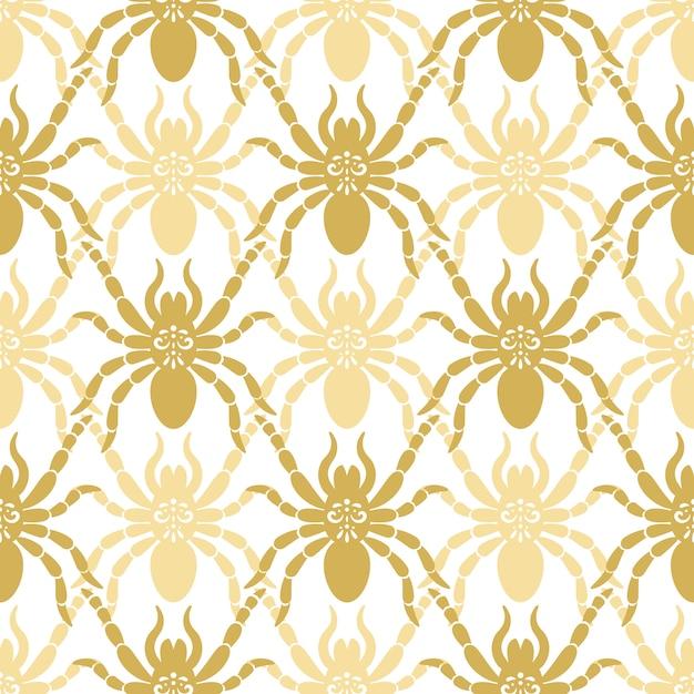 Бесшовный современный узор с пауками Premium векторы