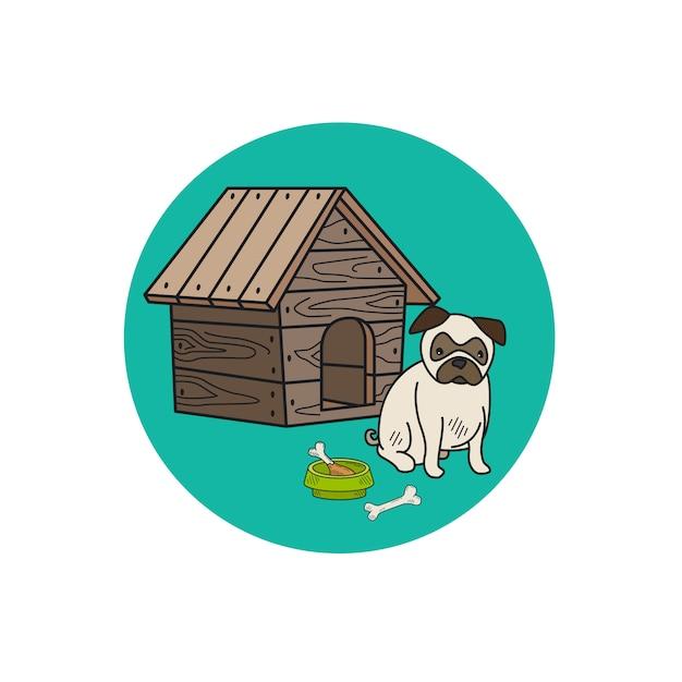 Питомник собак и швабры круг значок Premium векторы