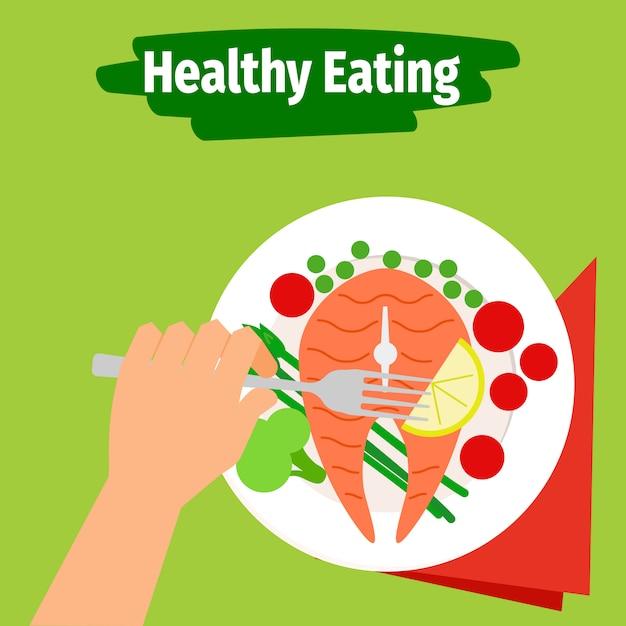 魚と健康的な食事のイラスト Premiumベクター