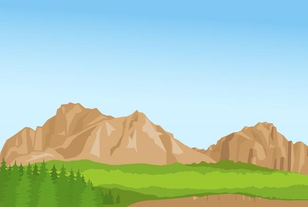 Обои с летними горами и цветочками Premium векторы