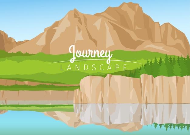 山の背景を持つ旅の風景 Premiumベクター