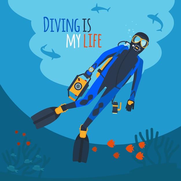 Дайвер под водой Premium векторы