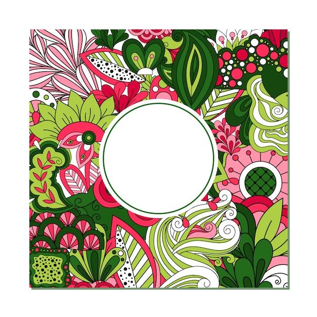 Шаблон поздравительной открытки с рамкой круга Premium векторы