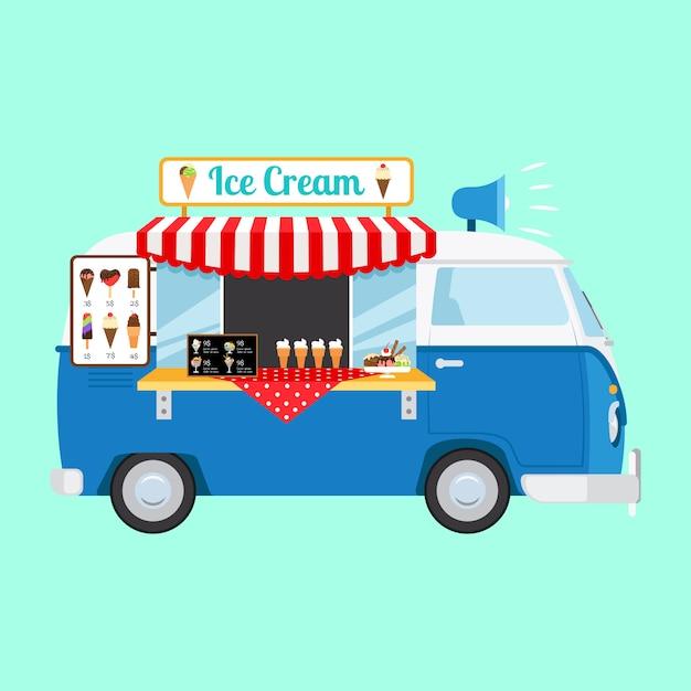 アイスクリーム漫画車 Premiumベクター