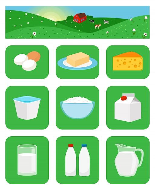 Значки молочных продуктов в зеленых квадратах Premium векторы