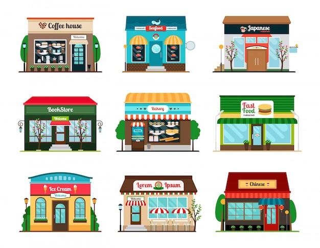 ショップやカフェのカラフルな店先のコレクション。書店、コーヒーハウス、オリエンタルフードレストラン Premiumベクター