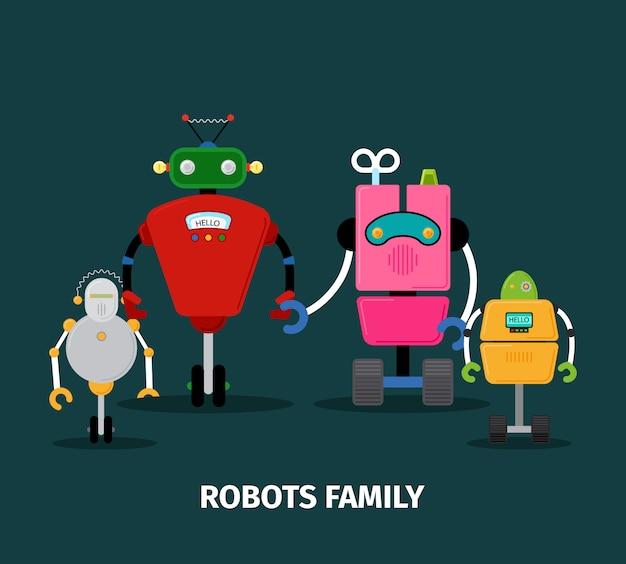 子供連れのロボット家族 Premiumベクター