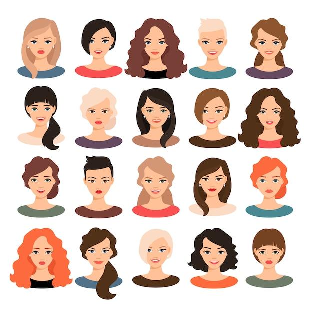 女性アバター設定ベクトル図です。分離された別の髪のスタイルを持つ美しい若い女の子の肖像画 Premiumベクター