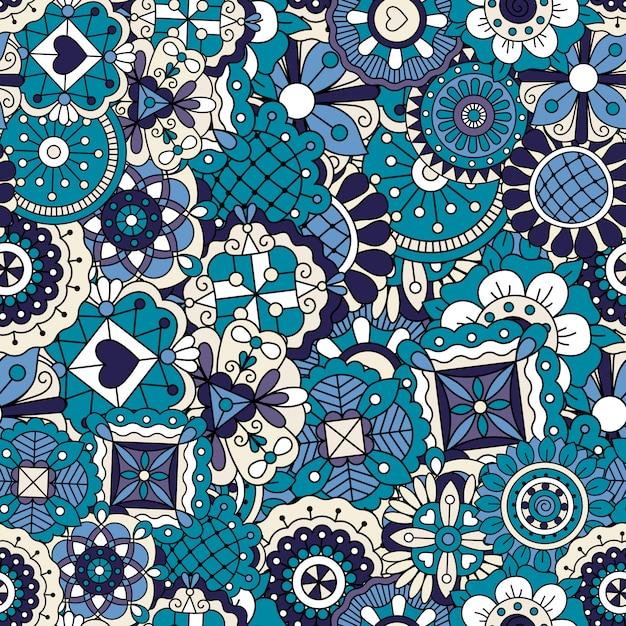青い落書きパターン Premiumベクター