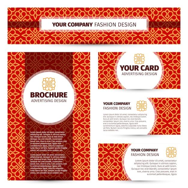 赤の中国風デザインのコーポレートアイデンティティ。ブランディングテンプレート Premiumベクター