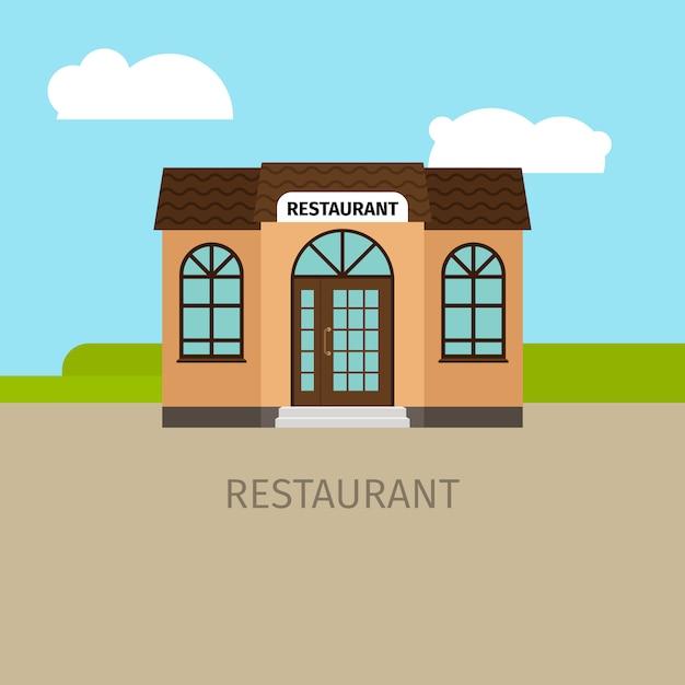 色付きのレストランの建物の図 Premiumベクター
