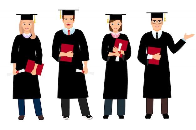 学生卒業はベクトル図を設定します。大学の女性と男性の学生が分離された人々を卒業します。 Premiumベクター