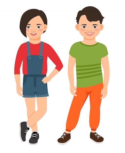 Мода подросток мальчик и девочка символов изолированы. подростковая средняя школа улыбающихся детей векторная иллюстрация Premium векторы