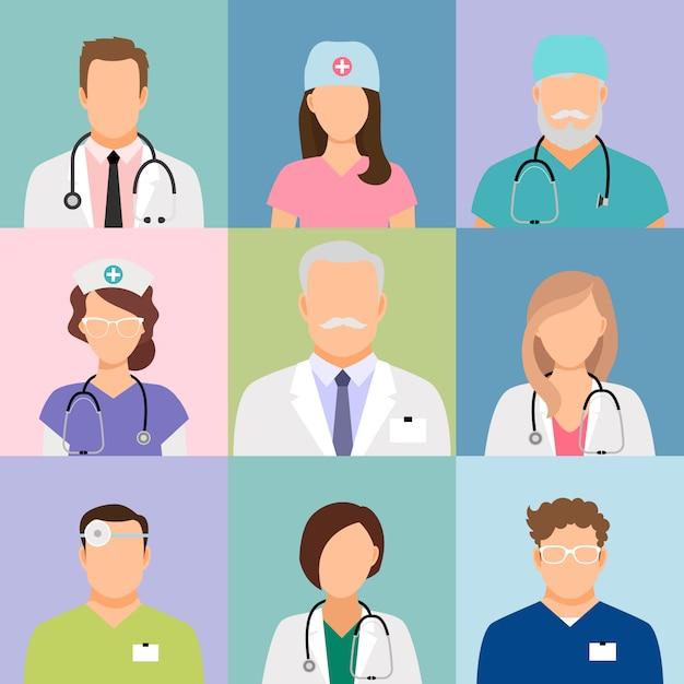 医師や看護師のプロファイルベクトル。外科医とセラピスト、眼科医と栄養士のアバター Premiumベクター