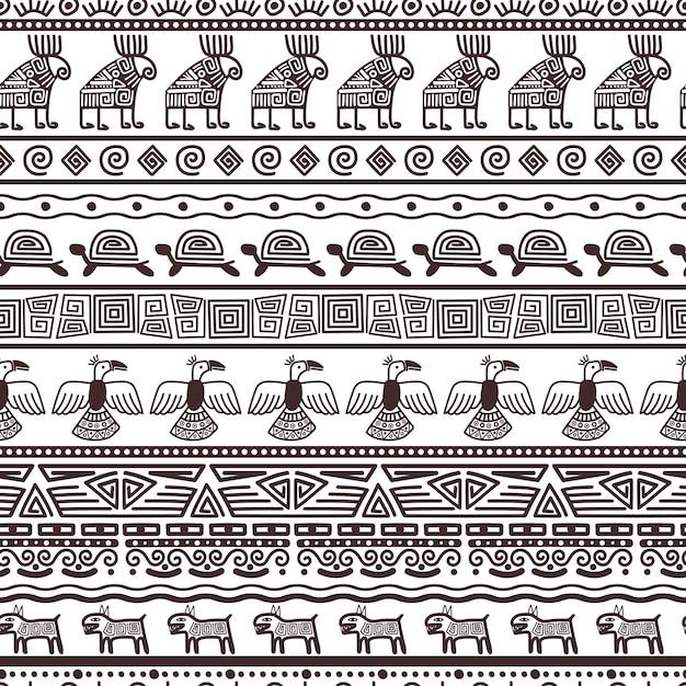 民族のアステカやペルーのパターンテンプレート。メキシコインディアンと部族の黒いボーダーファブリックをベクトルします。 Premiumベクター