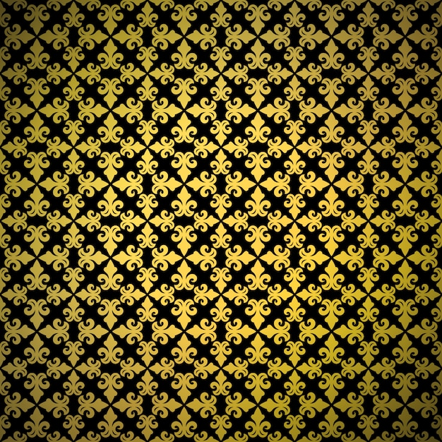 豪華な金色の背景飾りとのシームレスなパターン Premiumベクター