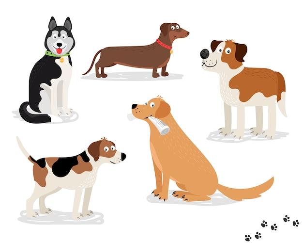 白い背景の上の幸せな犬のベクトル文字 Premiumベクター