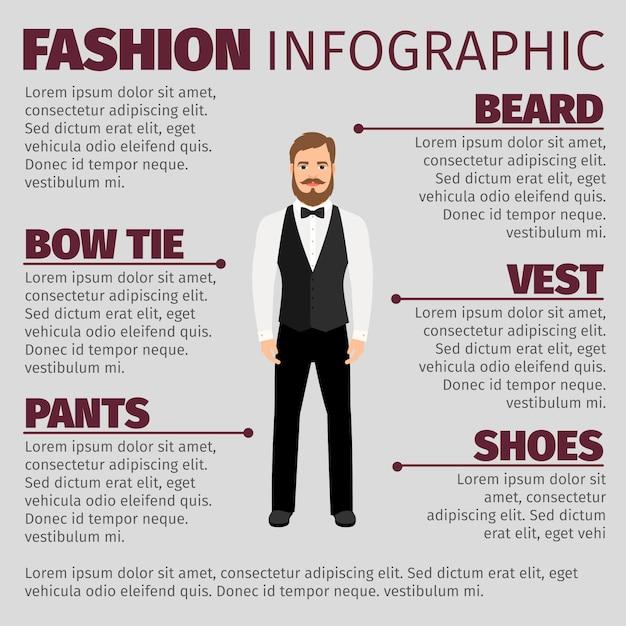 ひげを生やした流行に敏感な男のファッションのインフォグラフィック Premiumベクター
