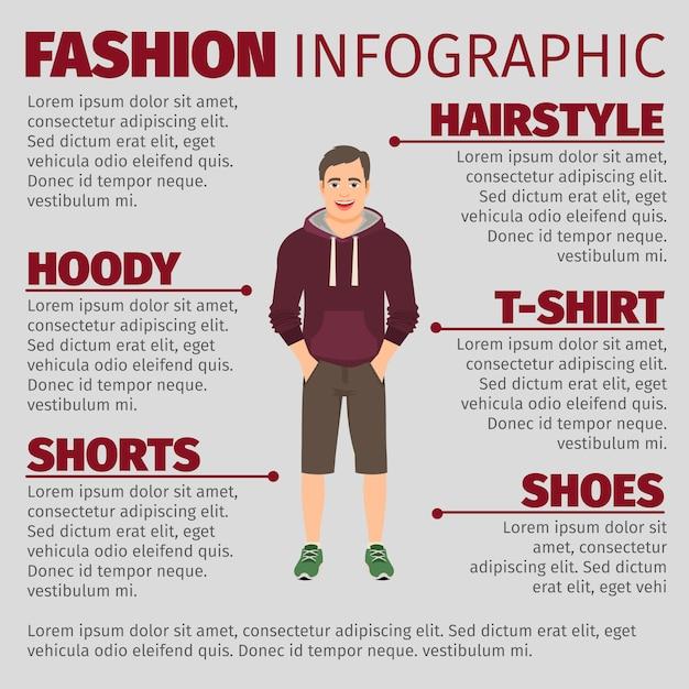 パーカーの男性とファッションのインフォグラフィック Premiumベクター