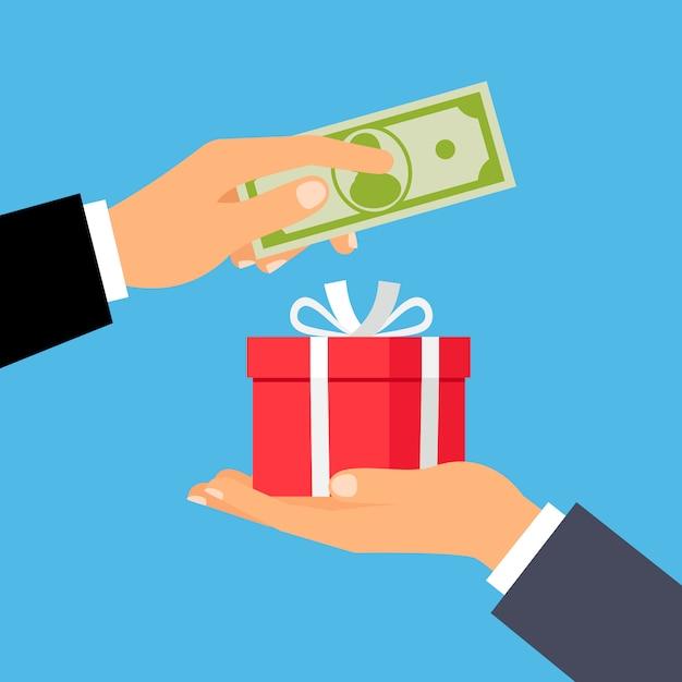 お金とギフトボックスの手 Premiumベクター
