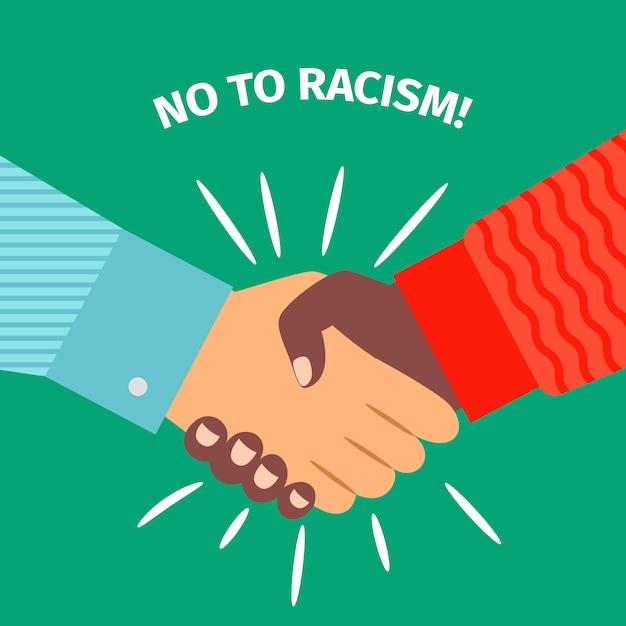 Нет расизму, рукопожатие, соглашение с бизнесменом Premium векторы