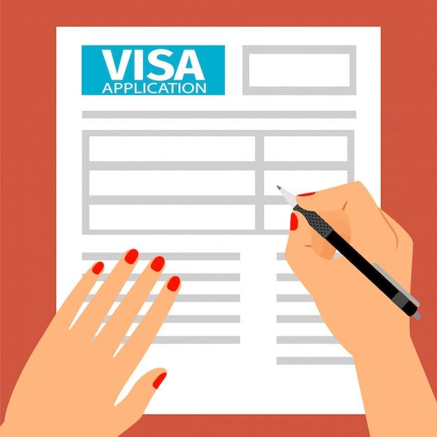 女性の手がビザ申請書に記入、 Premiumベクター
