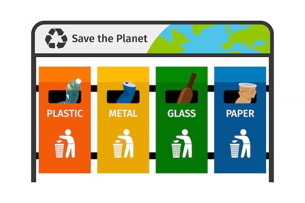 Пластиковые стеклянные бумажные металлические мусорные баки разных цветов Premium векторы