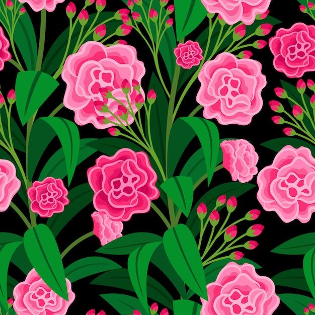 Розовые цветы с зелеными листьями цветочным узором Premium векторы