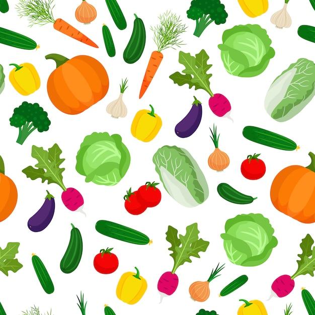 カラフルな野菜とのシームレスなパターン Premiumベクター