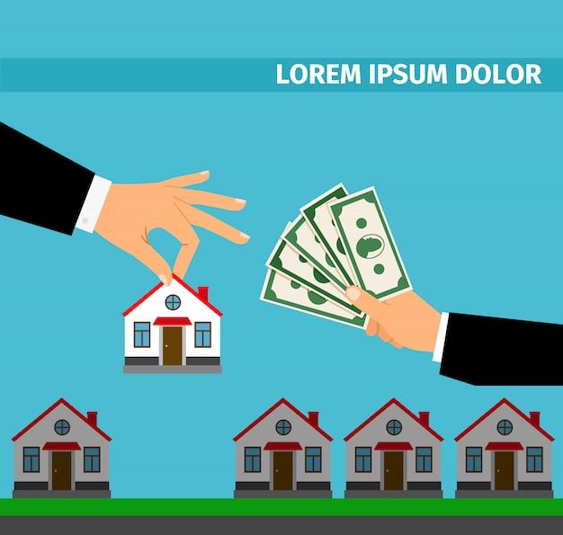 現金の家バナーのコンセプトを購入します。 Premiumベクター