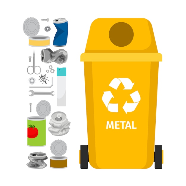 Желтый мусорный бак с металлическим мусором Premium векторы