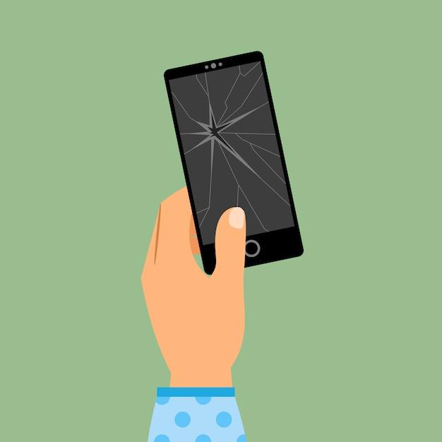 壊れたスマートフォンを持つ梨花の手 Premiumベクター