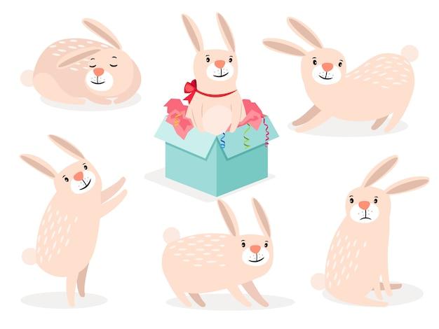 ウサギのキャラクター。面白い漫画かわいいイースターバニーベクトル動物の分離 Premiumベクター