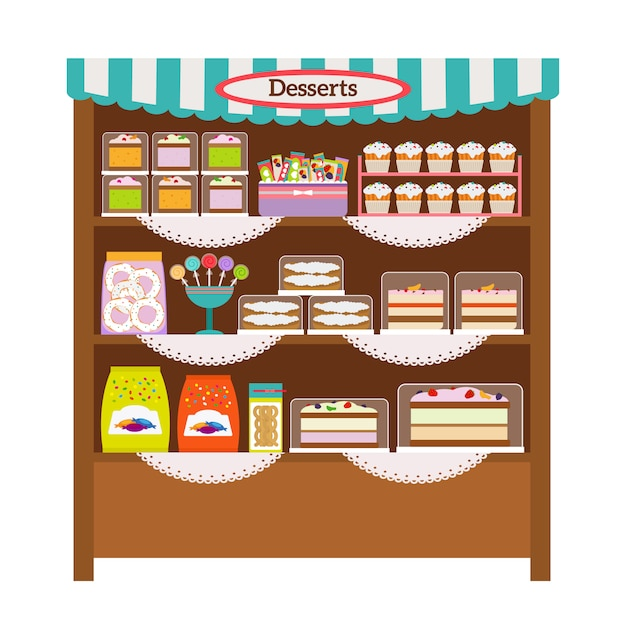Картинки витрина магазина сладостей в карандаше, для девочки