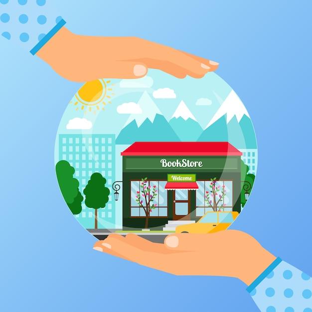 書店を開くためのビジネスコンセプト Premiumベクター