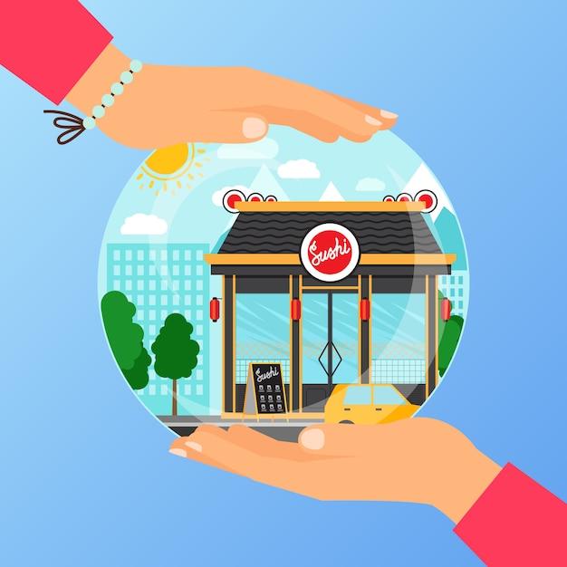寿司レストランを開くためのビジネスコンセプト Premiumベクター
