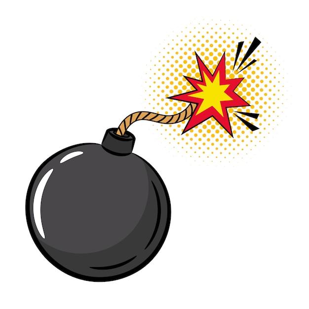 Мультяшная бомба в стиле поп арт Premium векторы