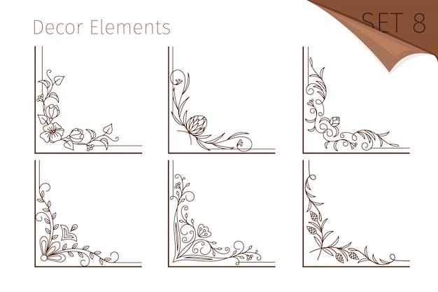 Винтажная линия цветочные уголки Premium векторы