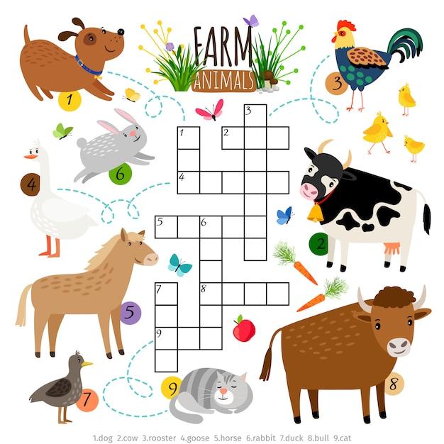 農場の動物のクロスワード Premiumベクター