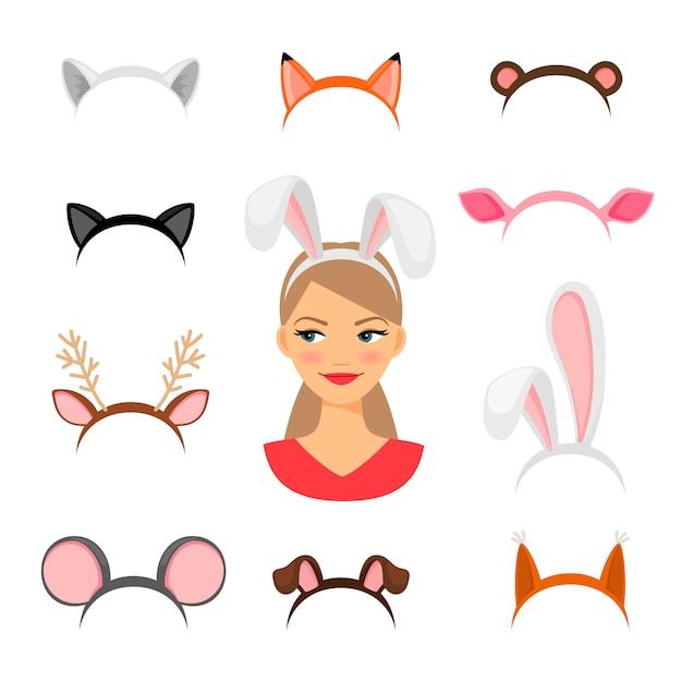 女の子の動物の耳の衣装 Premiumベクター