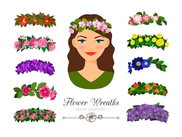 Девочки цветочные венки Premium векторы