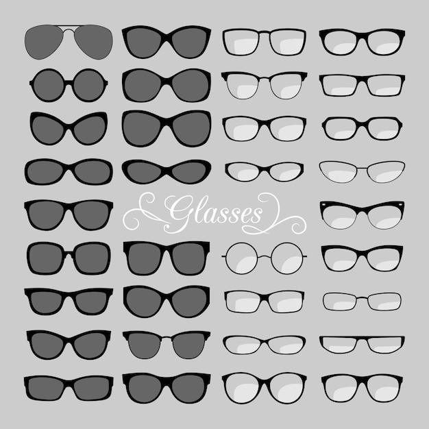 メガネのアイコンを設定 Premiumベクター