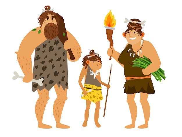 Семья каменного века Premium векторы