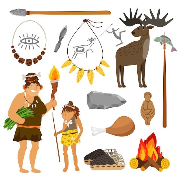 Люди и инструменты каменного века Premium векторы