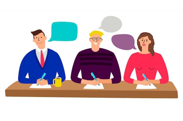 審査委員会。男性と女性の人々のイラストを採点クイズと裁判官のテーブル Premiumベクター