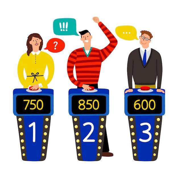 クイズショー。クイズゲームイラストで人々に答える Premiumベクター